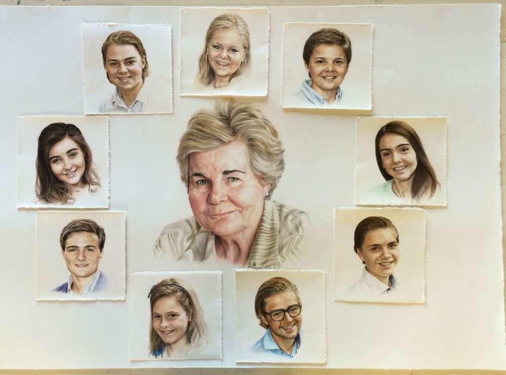 Oma met 9 kleinkinderen