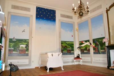 Panelen beschilderd met landschap in de omgeving