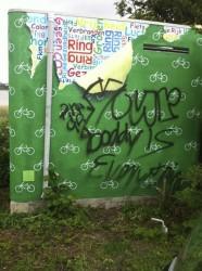 Electriciteitshuisje beklad met graffiti